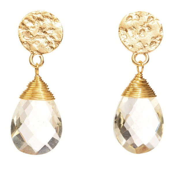 Azuni Athena Disc Drop Earrings | Lemon Quartz -  Bloomsbury Store