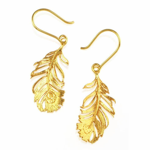 Alex Monroe Small Peacock Feather Earrings | Gold -  Bloomsbury Store