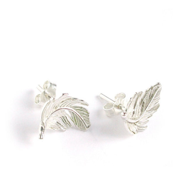Alex Monroe Earrings | Tiny Feather Studs Silver -  Bloomsbury Store