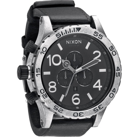 Nixon 51-30 Chrono Leather | Antique Silver/Black -  Bloomsbury Store