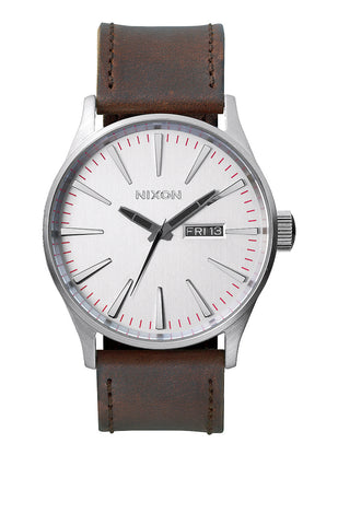 Nixon Sentry Leather | Silver / Brown -  Bloomsbury Store - 1
