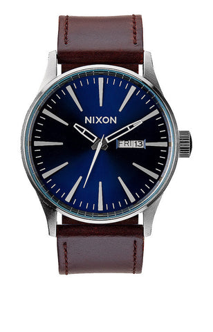 Nixon Sentry Leather | Blue / Brown -  Bloomsbury Store - 1