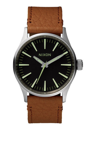 Nixon Sentry 38 Leather | Black / Saddle -  Bloomsbury Store