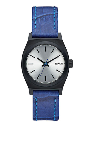 Nixon Small Time Teller Leather | Black / Blue Gator -  Bloomsbury Store - 1