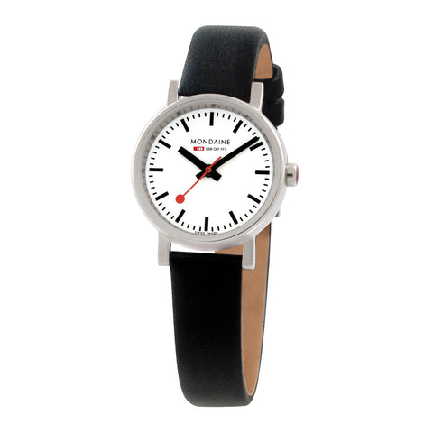Evo Petite Quartz Womens White & Black Watch | Mondaine -  Bloomsbury Store
