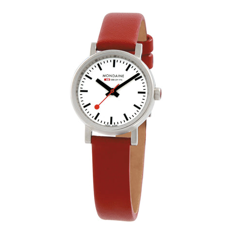 Evo Petite Quartz Womens White & Red Watch | Mondaine -  Bloomsbury Store