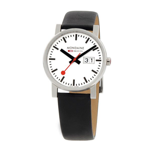 Evo Big Date Mens White & Black Watch | Mondaine -  Bloomsbury Store