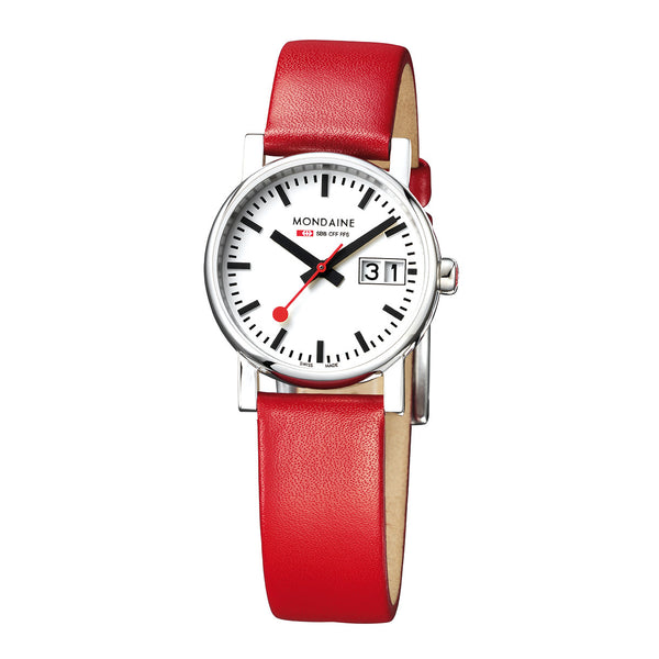 Mondaine Evo Big Date Ladies | Red Strap -  Bloomsbury Store