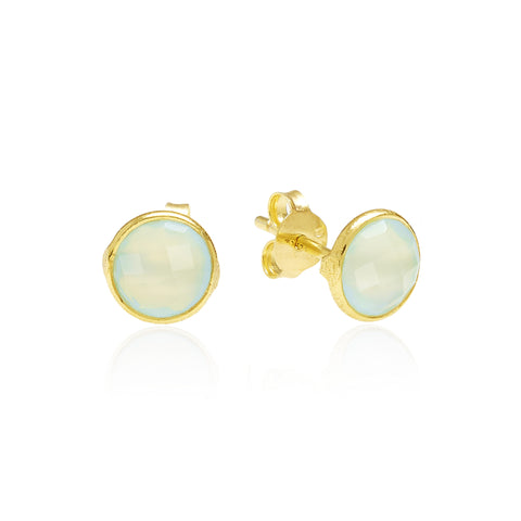 RR Earrings Small Round Gold Plated Studs | Aqua Onyx  | Bloomsbury Store