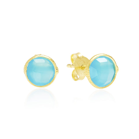 RR Earrings Small Round Gold Plated Studs | Cerulean  | Bloomsbury Store