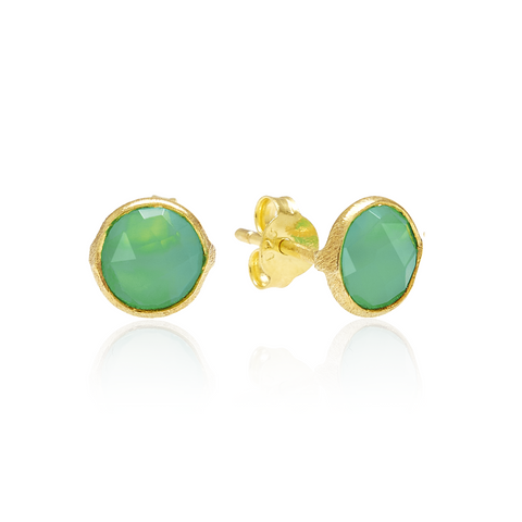 RR Earrings Small Round Gold Plated Studs | Chrysoprase  | Bloomsbury Store