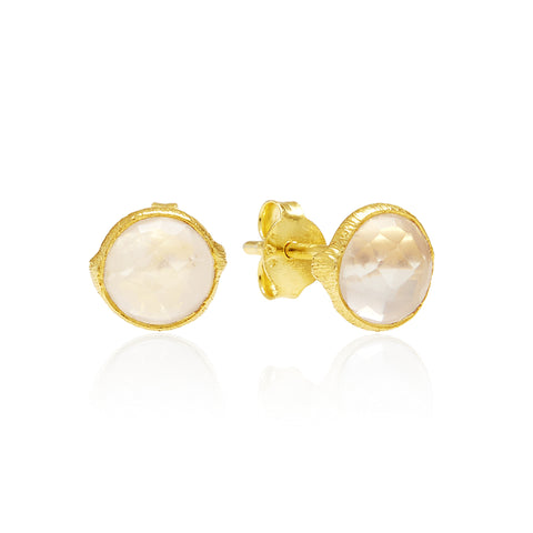 RR Earrings Small Round Gold Plated Studs | Rose Quartz