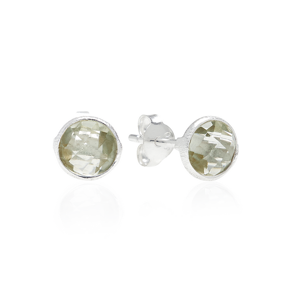 RR Earrings Small Round Silver Studs | Green Amethyst  | Bloomsbury Store