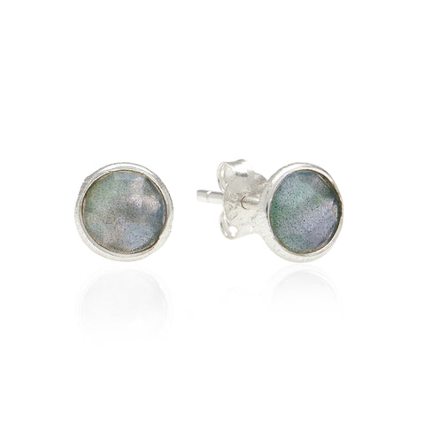RR Earrings Small Round Silver Studs | Labradorite  | Bloomsbury Store