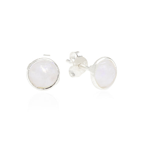 RR Earrings Small Round Silver Studs | Moonstone  | Bloomsbury Store
