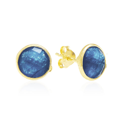 RR Earrings Medium Round Gold Plated Studs | Blue Onyx  | Bloomsbury Store