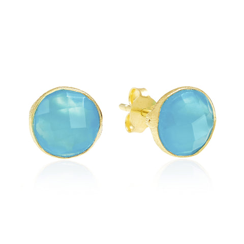 RR Earrings Medium Round Gold Plated Studs | Cerulean  | Bloomsbury Store