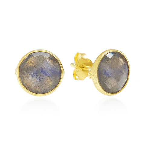 RR Earrings Medium Round Gold Plated Studs | Labradorite  | Bloomsbury Store