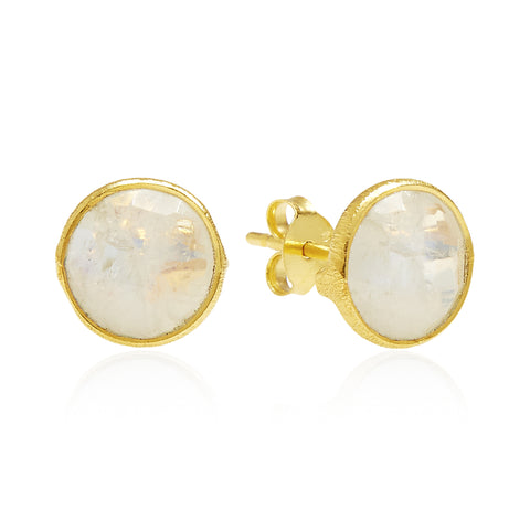 RR Earrings Medium Round Gold Plated Studs | Moonstone  | Bloomsbury Store
