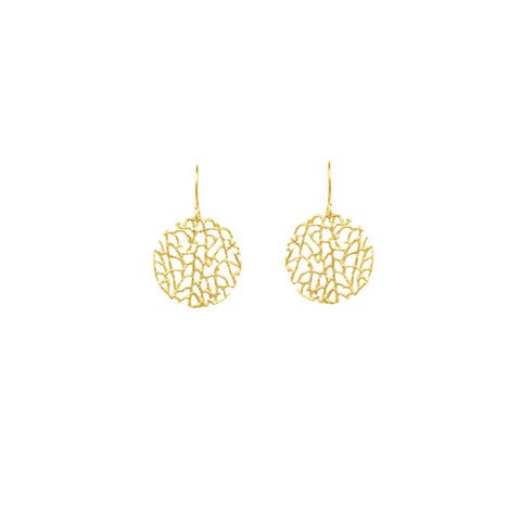 Earrings | Mini Coral Disc Gold -  Bloomsbury Store