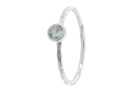 Pomegranate Silver Fine Single Stone Ring | Blue Topaz  | Bloomsbury Store