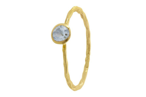Pomegranate Gold Fine Single Stone Ring | Blue Topaz  | Bloomsbury Store