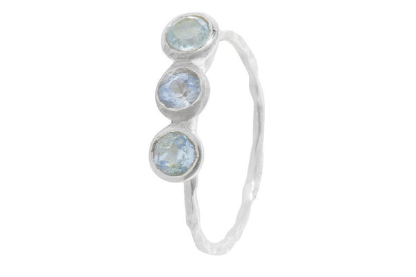 Pomegranate Silver Fine 3 Stone Ring | Blue Topaz  | Bloomsbury Store - 1