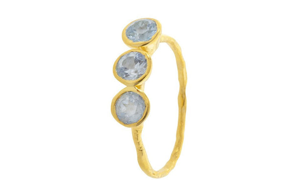Pomegranate Gold Fine 3 Stone Ring | Blue Topaz  | Bloomsbury Store