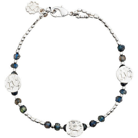 Disc And Stone Bracelet | Silver Plate / Labradorite -  Bloomsbury Store