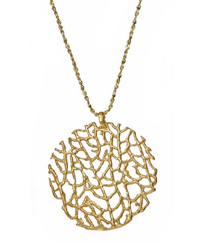 Necklace | Large Coral Necklace Gold -  Bloomsbury Store