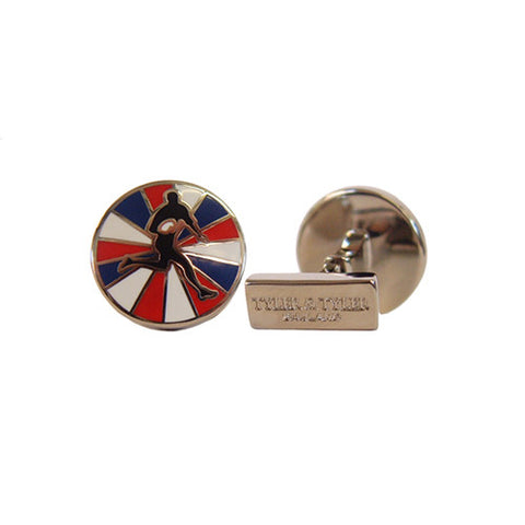 Tyler & Tyler Cufflinks | Rugby Red/Blue Burst -  Bloomsbury Store - 1