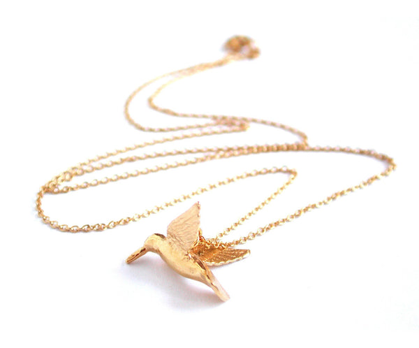 Alex Monroe Hummingbird Necklace | Gold Plate -  Bloomsbury Store