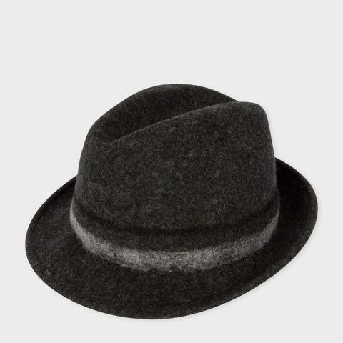 Paul Smith Accessories |  Dark Grey Bonded Wool Trilby Hat - Large Bloomsbury Store - 1