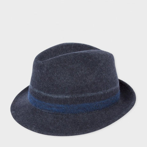 Paul Smith Accessories |  Navy Bonded Wool Trilby Hat - Large Bloomsbury Store - 1