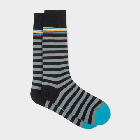 Paul Smith Accessories | Black Multi Top Stripe Socks -  Bloomsbury Store - 1