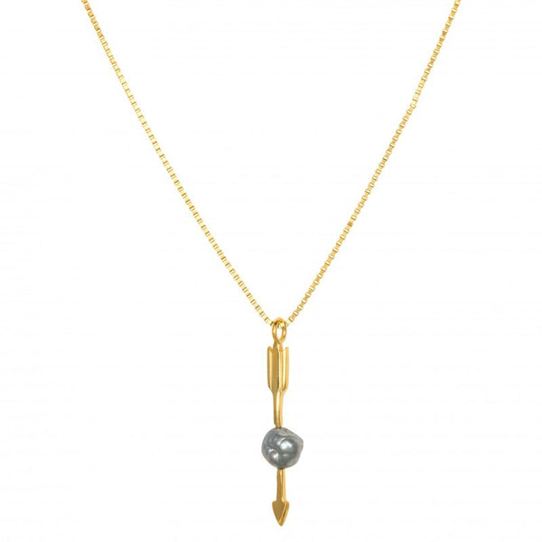 Necklace Arrow With Grey Pearl | Gold Plated -  Bloomsbury Store