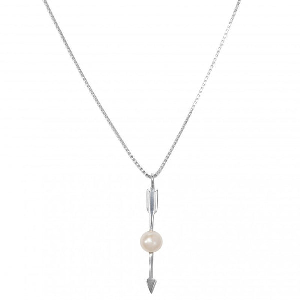 Necklace Arrow With grey Pearl | Silver -  Bloomsbury Store