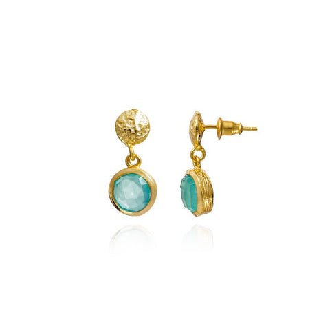 Azuni Athena Gold Textured Button and Round Drop | Aqua Chalcedony  | Bloomsbury Store