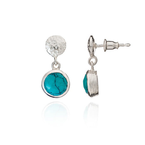 Azuni Athena Silver Textured Button and Round Drop | Turquoise  | Bloomsbury Store