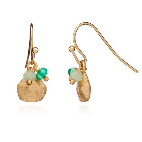Azuni Athena Gold Charm and Stone Cluster Hook Earrings | Green Onyx/Prehenite  | Bloomsbury Store