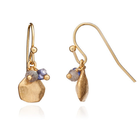 Azuni Athena Gold Charm and Stone Cluster Hook Earrings | Labradorite/Iolite  | Bloomsbury Store