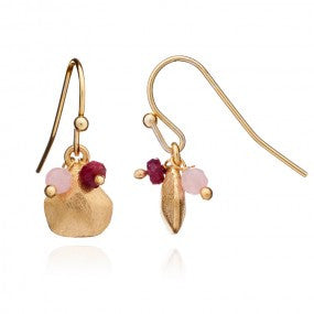 Azuni Charm Stone Cluster Earrings Red/ Pink | Gold  | Bloomsbury Store