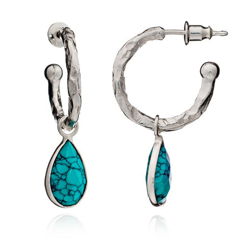 Azuni Athena Silver Small Hammered Hoop with Stone | Turquoise  | Bloomsbury Store