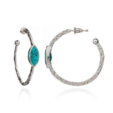 Azuni Athena Silver Marquise Hoop | Turquoise  | Bloomsbury Store
