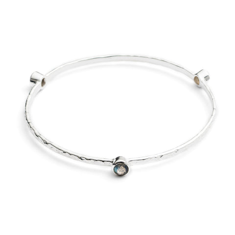 Azuni Silver Plated Bangle | Labradorite -  Bloomsbury Store