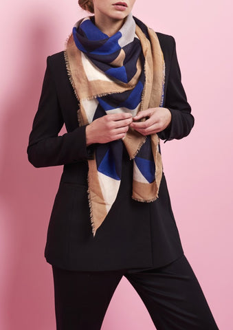Gaston Mazarine Blue Wool and Cashmere Scarf  | Bloomsbury Store