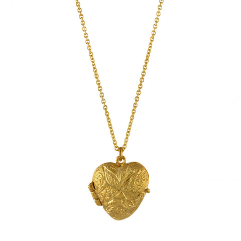 Alex Monroe | Engraved Swallow Heart Locket | 22ct Gold Plated  | Bloomsbury Store