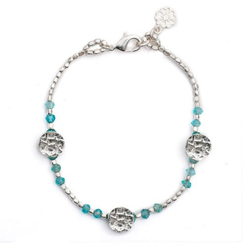 Disc And Stone Cleo Bracelet | Silver Plate / Apatite -  Bloomsbury Store - 1