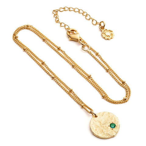 Azuni Simple Textured Disc with Small Stone Pendant on Chain | Green Onyx  | Bloomsbury Store