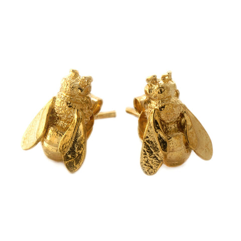 Alex Monroe | Honeybee Stud Earrings | Gold Plated  | Bloomsbury Store